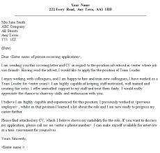 Customer Service Team Leader Cover Letter Team Leader Cover Letter Sample Lettercv Com