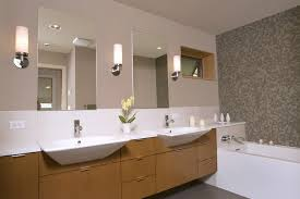 modern bathroom wall sconces. Modern Bathroom Wall Sconces Above Double Undermount Sink Vanity With Two Frameless Mirrors