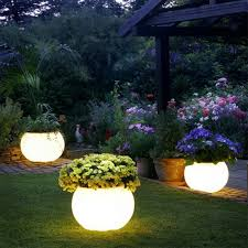 solar landscape lighting planter