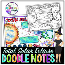 Anchor Chart Notebook Total Solar Eclipse 2017 Science Doodle Note Interactive Notebook Anchor Chart