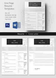 One Page Personal Resume + Cover Letter Template