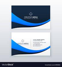 Free Design Business Cards Elegant Blue Wave Business Card Design