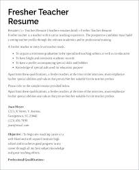 Resume For Teachers Examples Interesting Sample Resume For Fresher Teachers Job Plus This Is Resume For