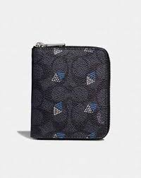 at Coach · Coach Small Zip Around Wallet In Signature Canvas With Dot  Diamond Print