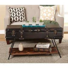 Trunk Coffee Table Suitcase Unique Vintage Style Industrial Eclectic Storage