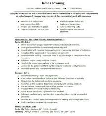 ... Valuable Cdl Resume 10 Doc444573 Resume For Driver For Driving Job ...