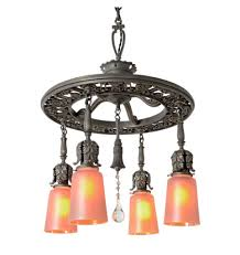 classical revival 4 light chandelier w nuart carnival glass shades antique chandeliers with an industrial