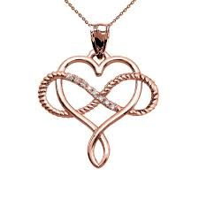 0 05ct diamond infinity heart intertwined rope necklace in 14k rose gold