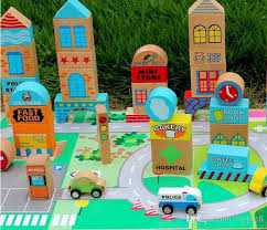 wooden toy blocks british super stars 50 city building traffic scenario building blocks attached title card wooden toy blocks with 155 69 piece on