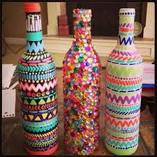 ReUse Your Wine Bottles! Paint them or decorate them in cute ways to use  them