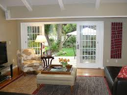 Transitional Design Living Room Living Room With French Doors Exposed Beam In Mill Valley Ca