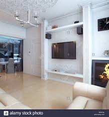 White Leather Living Room Design Living Room Interior Design With White Leather Sofa Stock