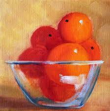 kitchen paintingsOriginal Still Life Oil Painting Orange Fruit Bowl Glass