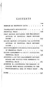 perpetual peace a philosophical essay ed online library  original table of contents or first page