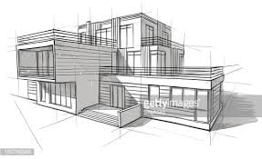 Contemporary Architecture Design Sketches Vector Art In Inspiration