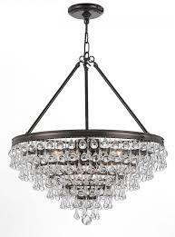 crystorama calypso 8 light crystal teardrop bronze chandelier