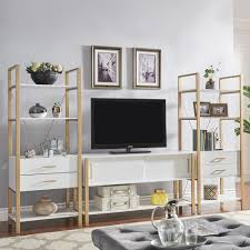 Shiloh Contemporary White and Gold Entertainment Center by iNSPIRE Q Bold -  Free Shipping Today - Overstock.com - 25576120