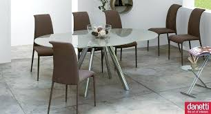 dining room beauteous decoration with oval extendable table round chrome legs and dark brown suede chair