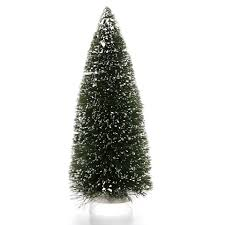 Bottle Brush Christmas Trees: 12 inch Green Sisal Tree with Snow