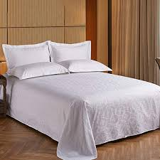 lingzhigan high density cotton five star hotel jacquard bed sheets single piece hotel white bedspreads
