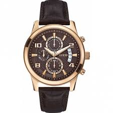 men s guess w0076g4 watch official uk shop british watch company guess men 039 s exec rose gold chronograph watch