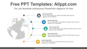 World Map Power Point Radial World Map Powerpoint Diagram Template