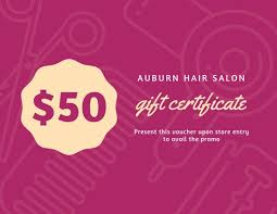 pink icons pattern hair salon gift certificate