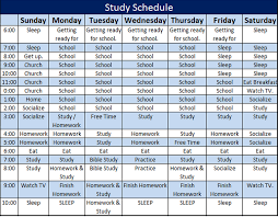 Daily Homeschool Schedule Template Daily Study Schedule Template