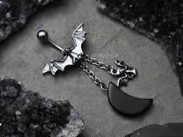 Black Moon Vampire <b>Bat</b> Belly <b>Ring</b>, Dangle <b>Chain</b> Belly Button ...