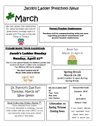 8 Best Images of March Preschool Newsletter - February Preschool ...