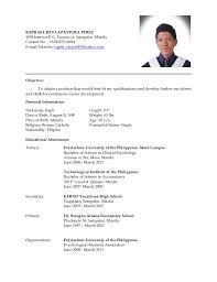 Applicant Resume Sample Filipino In The Philippines Latest Ready