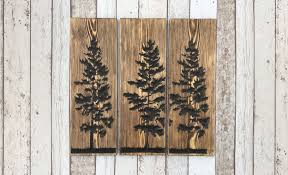 large engraved handcrafted dark oak pine trees wall art on wood pine tree wall art with large engraved handcrafted dark oak pine trees wall art bramble signs