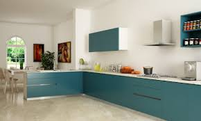 For L Shaped Kitchen L Shaped Kitchen Design Ideas With Blue Cabinet And White Wall