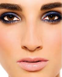 party makeup for navy blue dress color style indian stani