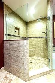showers half glass shower wall walk in with pony material ideas lovely for