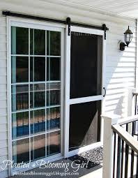 sliding door screen sliding screen door barn track planted and blooming girl sliding screen door lock