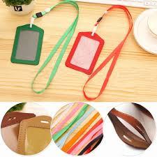 PU 1pcs Leather Candy Colors Pocket <b>ID Card</b> Pass Badge <b>Holders</b> ...