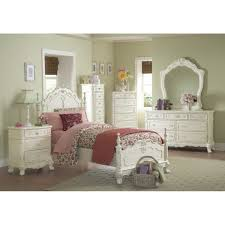 Cinderella Dream White Ecru Painted Girls Twin Poster Bedroom Set
