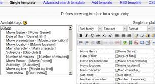 moodle templates database templates moodledocs