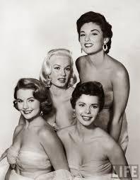 From Left to Right) Myrna Hansen, Mamie Van Doren, Colleen Miller and  Allison Hayes, 1954 | Mamie van doren, Van doren, Allison hayes