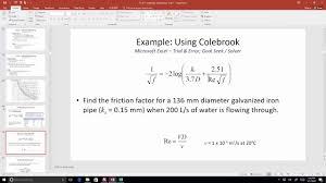 ce 331 class 3 17 jan 2017 colebrook equation jain equation pipe diameter