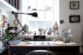 eclectic office furniture. Artistic Home Design Office Eclectic With Gold Mask Artist Desk Fan Furniture
