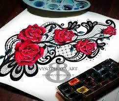 сообщество иллюстраторов иллюстрация эскиз тату розы и кружево