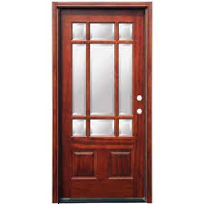 mahogany front door. Craftsman 9 Lite Stained Mahogany Wood Prehung Front Door M