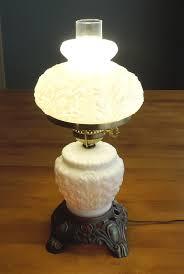 vintage milk glass hurricane lamp and night light antique metal base milk glass table lamp
