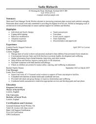 Resume Templates Disability Case Manager Example Behavioral Health