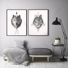 Elegant Native Indian Wolf Canvas Art Print Painting Poster Wall Pictures For  Living Room Home Decorative Bedroom