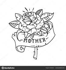 Tetování červená Růže Se Stuhou A Nápisem Matka černobílé Tetování