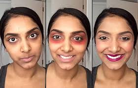 camouflage brown circles with red lipstick