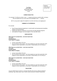Resume Examples Career Objectives Resume Sample For Resumes Letter